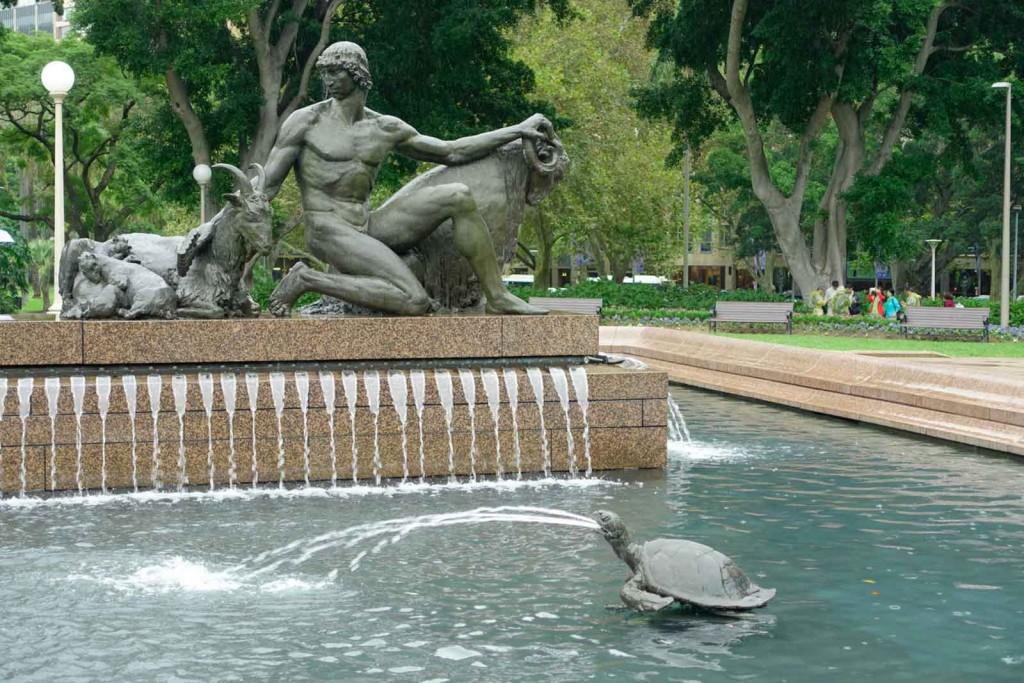 Kotzende Schildkröte im Springbrunnen