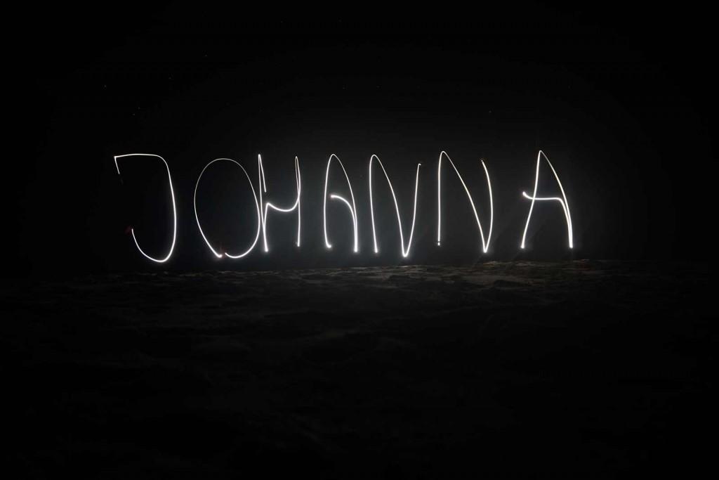 """Lichtgemalter """"Johanna""""-Schriftzug"""