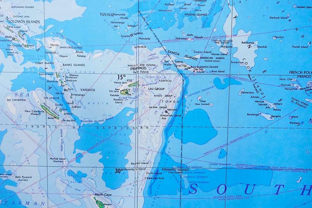 Karte mit 180tem Längengrad
