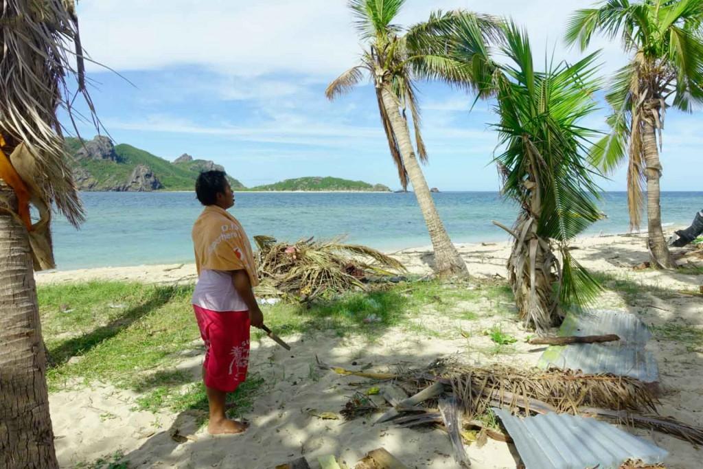 Loata bekuckt sich Kokoszweig